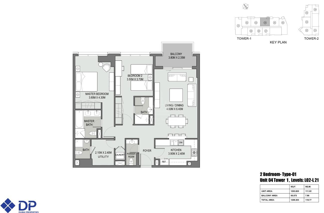 2 Bedroom Apartment in Bellevue Tower - Image 2