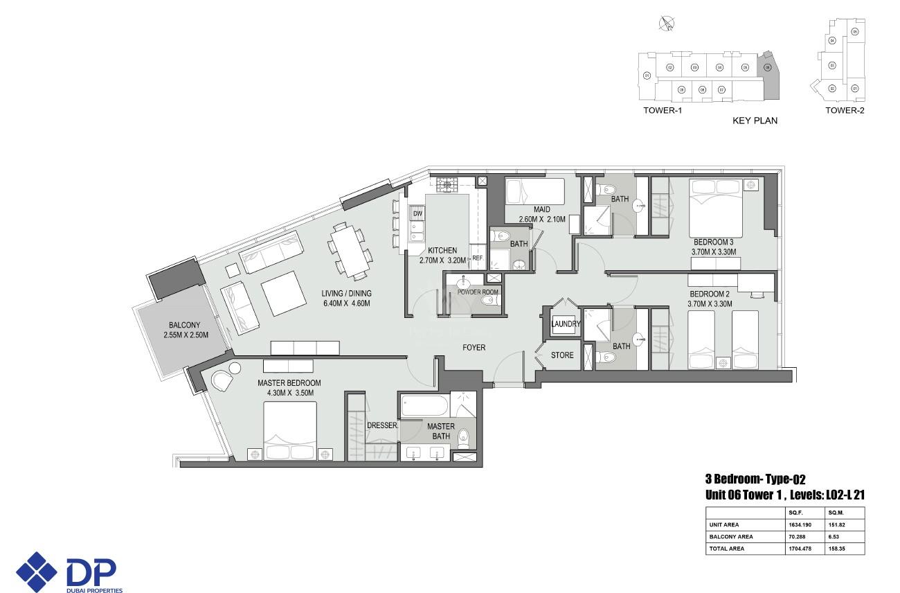 2 Bedroom Apartment in Bellevue Tower - Image 3