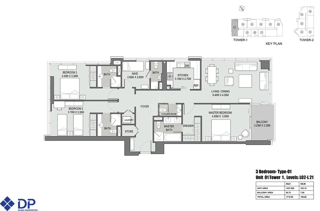 2 Bedroom Apartment in Bellevue Tower - Image 4