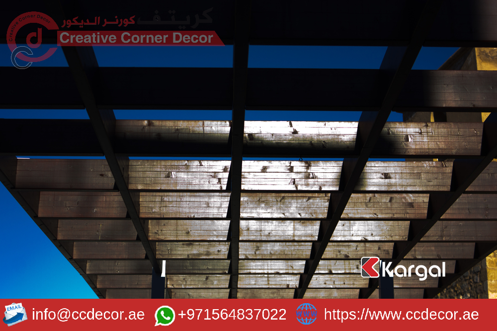 Wooden pergola for a sunny and blue sky.png