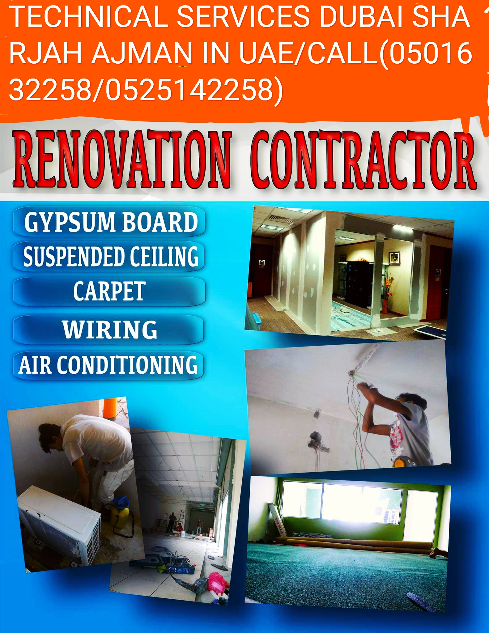 GYPSUM PARTITION PAINTING TECHNICAL CONTRACTOR IN SHARJAH